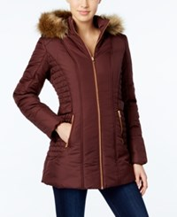Celebrity Pink Faux Fur Trim Hooded Puffer Coat Mulberry