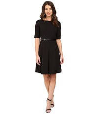 Donna Morgan Boat Neck Shift Dress With Seam Black Women's Dress