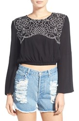 Women's Minkpink 'While Hearts' Embroidered Bell Sleeve Crop Top Black Cream