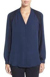 Women's Kobi Halperin 'Noor' Lace Trim Slit Sleeve Silk Blouse Midnight Blue