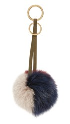 Mischa Lampert 3 Tone Pom Bag Charm Navy Taupe Ruby Olive Gold
