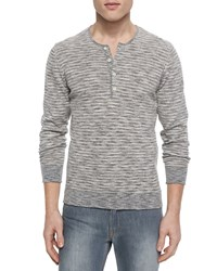 7 For All Mankind Striped Knit Long Sleeve Henley Shirt Gray Grey