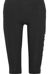 Ivy Park Capri Printed Stretch Cotton Blend Jersey Leggings Black