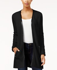 Charter Club Petite Faux Leather Trim Cardigan Only At Macy's Deep Black