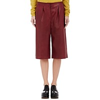 Maison Martin Margiela Women's Grained Leather Culottes Burgundy Red Burgundy Red