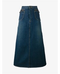 Saint Laurent A Line Denim Skirt Blue Denim Metallic Gold
