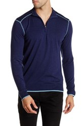 Agave Laurence Long Sleeve Zip Mock Neck Fine Gauge Pullover Blue