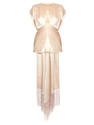 Hillier Bartley Fringed Drape Back Satin Blouse Light Pink