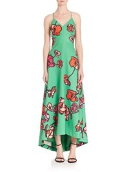 Phoebe Couture Floral Crepe Gown Green Multi