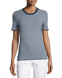 Michael Kors Collection Gingham Short Sleeve Tee Indigo White Women's Size M