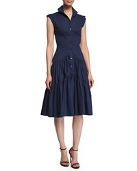 Zac Posen Sleeveless Tiered Skirt Shirtdress Navy