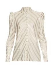 Hillier Bartley High Neck Striped Silk Blouse Grey