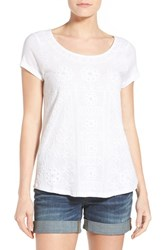 Women's Lucky Brand Embroidered Short Sleeve Shirttail Tee Lucky White