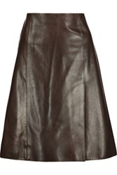 Jason Wu Leather Skirt Dark Brown