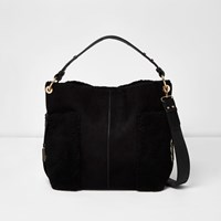 River Island Womens Black Faux Fur Panel Slouch Bag