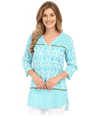 Hatley Turquoise Ikat Women's Beach Tunic Turquoise Ikat Women's Clothing Blue