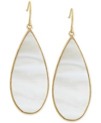 Kenneth Cole New York Gold Tone Large Teardrop White Shell Inspired Drop Earrings
