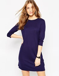 Asos Shift Dress In Ponte With 3 4 Sleeves Navy