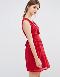 Jasmine Skater Dress With V Neckline Red