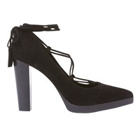 Mint Velvet Eve Lace Up Court Shoes Black