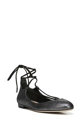 Diane Von Furstenberg Women's 'Paris' Lace Up Flat Pewter Leather