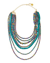 Devon Leigh Titanium Quartz And Turquoise Multi Strand Necklace