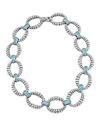 Lagos Venus Turquoise Doublet Fluted Link Necklace