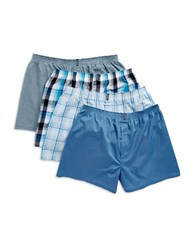 Jockey 4 Pack Stay New Full Cut Boxers Blue Assorted