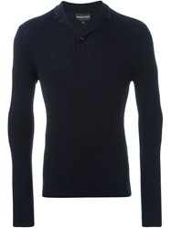 Emporio Armani Ribbed Fitted Sweater Blue