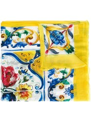 Dolce And Gabbana Majolica Print Scarf Yellow And Orange