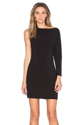 Halston Asymmetrical Boatneck Mini Dress Black