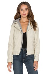 Doma Hooded Leather Jacket Beige