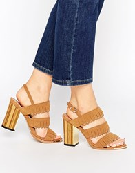Glamorous Tan Fringe Gold And Wood Effect Heeled Sandals Tan