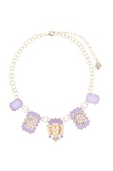 Betsey Johnson Elephant And Flower Accent Pendant Necklace Purple