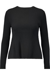Iris And Ink Andrea Ribbed Stretch Knit Peplum Sweater Black