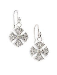 Jude Frances White Sapphire And Sterling Silver Maltese Drop Earrings