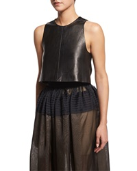 J. Mendel Seamed Leather Crop Top Black Noir