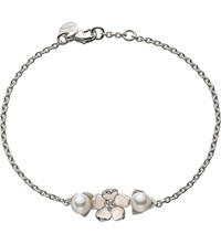 Shaun Leane Sterling Silver Diamond And Pearl Single Flower Bracelet