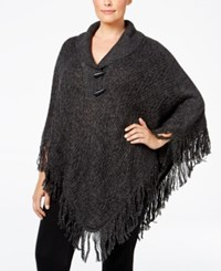 Karen Scott Plus Size Cable Knit Fringe Poncho Only At Macy's Black Ash Marble