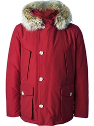 Woolrich Fox Fur Trimmed Parka Red