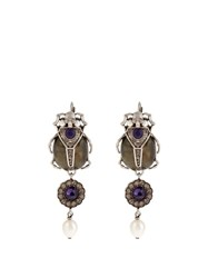 Alexander Mcqueen Pearl And Crystal Embellished Beetle Earrings Silver Multi