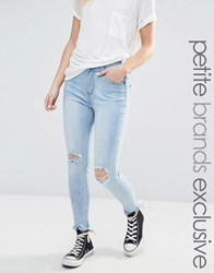Liquor And Poker Petite Acid Wash Knee Rip Super Skinny Jeans Blue