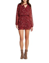 Bcbgeneration Floral Printed Short Romper Red