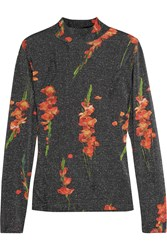 Topshop Unique Sidgwick Floral Print Jersey And Lurex Top Charcoal Red