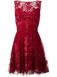 Zuhair Murad Floral Lace Mini Dress Red