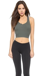 Solow Henley Crop Top Grey