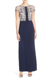 Adrianna Papell Women's Beaded Mesh And Jersey Gown Silver Midnight