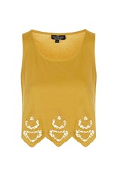 Topshop Petite Embroidered Swing Vest Mustard