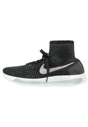 Nike Performance Lunarepic Flyknit Lb Cushioned Running Shoes Black Metallic Pewter Anthracite