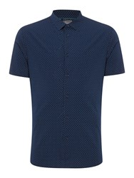 Linea Lee Square Polka Dot Short Sleeve Shirt Navy